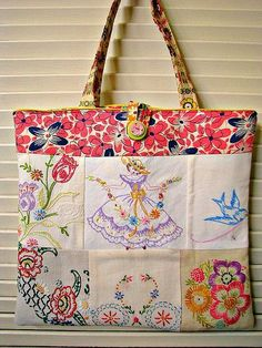 Vintage Embroidery Tote. Great way to use those old hankies that have some staining or damage on one end. #vintageembroidery #Totes