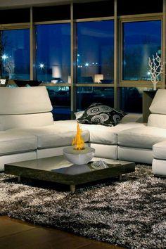 Sutton Model Indoor/Outdoor Fireplace. #InteriorDecorInspiration #Fireplaces