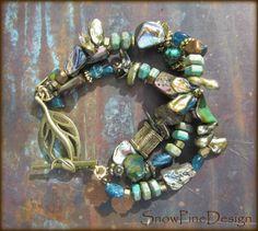 Of the Sea Paua Keshi Pearl Apatite Turquoise Brass Multi