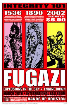 Fugazi - Explosions In The Sky - Engine Down Gig Poster, Concert Posters, Pop Posters, Music Flyer, Famous Singers, Explosions, Poster Ideas, Music Covers, Post Punk