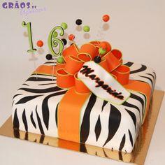 Presente Zebra | 3D | bolo natal | Grãos de Açúcar - Bolos decorados - Cake Design