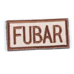 """Matrix """"FUBAR"""" IFF Velcro Patch / 50x25mm (Tan) by Perfect. $8.99. The quick id for friendly team in environment. Back of the patch with Velcro matericals usually placed at helmets, tactical vest, backpacks, cap or BDU ... etc."""