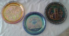Carnival Glass Little Brown Church, Spirit of 76, & Liberty Bell Plates - 3