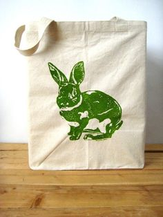 Screen Printed Canvas Tote Bag  Large Recycled by ohlittlerabbit, $17.50