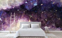 Purple amethyst quartz geode Wall Mural   All That Glitters Quartz Geode, Amethyst Quartz, Purple Amethyst, All That Glitters, Deep Purple, Wall Murals, Wallpaper, Furniture, Home Decor