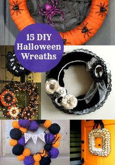 halloween wreaths Halloween is my absolute favorite holiday! I can't wait to make one of these cute Halloween wreaths for the front of my door. Deco Porte Halloween, Halloween Wreaths, Halloween Crafts, Holiday Crafts, Holiday Fun, Halloween Decorations, Favorite Holiday, Halloween Ideas, Halloween Clothes