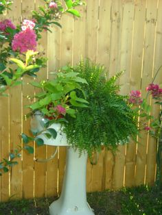 What a smart idea, using an old sink for a flower planter.