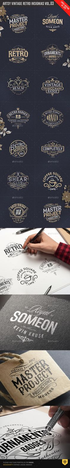 Artsy Vintage Retro Insignia and Logo Templates Vector EPS, AI Illustrator