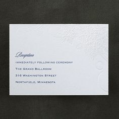 Spinning Snowfall Reception Card  An embossed snowflake design is shown on this shimmery card for your winter wedding or holiday receptions and parties