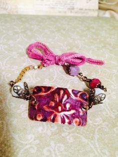 True Romance copper, brass, glass, silk bracelet by GemJelly on Etsy