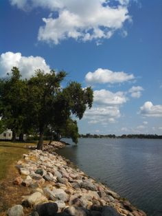 Chautauqua Park waterfront looking East on the North side of Lake Okabena in Worthington, MN