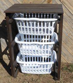 Laundry basket holder from reclaimed pallets - Ana White Inspired