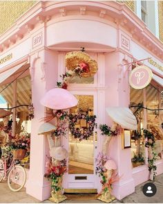 Rita Farhi Finds beautiful flowers in London Cafe Exterior, Interior And Exterior, Pink Cafe, Mushroom Decor, Cute Cafe, Autumn Display, Pink Garden, Shop Fronts, Shop Front Design