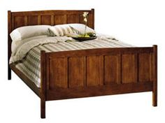 Missioncraft furniture, Portland. Decent prices and good selection of styles. Even plain platform we could use to add a headboard to.  Beds all have lifetime warranties. Most beds are custom made locally. Prices will vary with wood species, style, and size.