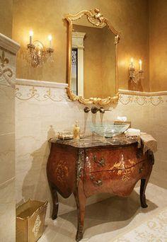 Mahwah traditional powder room... Love the wall tile.