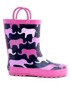 Pink Elephant Rain Boot