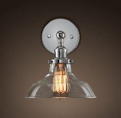 Glass Barn Filament Sconce Polished Nickel ~ I like. Maybe for the bathroom?