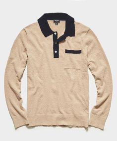 Boucle Polo in Khaki by Todd Snyder, $268 Polo Sweater, Men Sweater, Clothes Encounters, Todd Snyder, Tees, Shirts, My Style, Long Sleeve, Mens Tops