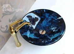 New Arrival Blue Color Creative Tempered Glass Vessel Sink Small Vessel Sinks, Glass Vessel Sinks, Bowl Sink, Sink Design, Bathroom Sink Faucets, Antique Glass, Beautiful Bathrooms, Fused Glass, House Styles