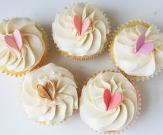 Gum Paste Hearts on cupcakes