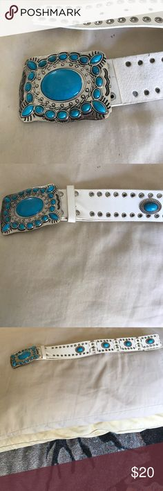 Beautiful White Belt with Blue Stone Ornaments Gorgeous belt, the picture doesn't do it enough justice. Will fit a size Small to Medium, but Small is better. Big blue decorative stones. Will make an impression. Good overall condition, never worn, but was sitting in my closet for some time simply because I don't wear belts. Happy to pass on to someone who loves belts and would appreciate it's beauty. Accessories Belts