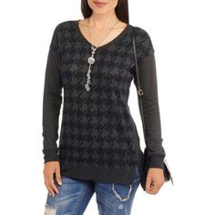French Laundry Women's Textured Houndstooth Tunic, Size: Medium, Gray