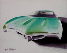 An early sketch of what would become the 1968 Pontiac GTO, one of Mr. Porter's best-known designs.
