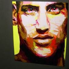 Françoise Nielly's massive, colorful portraits are delicious to look at. Even more wonderful – and particularly infuriating to those of us who have timidly dabbled in painting – is to watch her create them. In a beautiful video posted on her site, she, in her confident, strong hand, wields her painting knife shaped like a miniature garden trowel, and makes painting look easy like cake frosting. She paints her vivid, passionate canvases — some as large as 78 x 25 inches (195 x 62 centimeters)…
