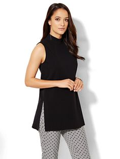 Shop 7th Avenue Design Studio - Mock-Neck Tunic Top . Find your perfect size online at the best price at New York & Company.