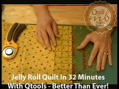 """Jelly Roll Quilt in 32 Minutes with Qtools - Better than ever! - YouTube-13:28min presented by Marci Baker-Use one jelly roll with about 40 strips will give an approximately 50""""x 64"""" top."""