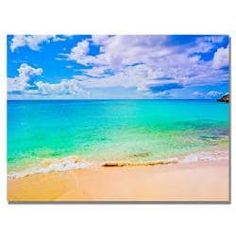 Preston 'Maho Beach' Canvas Art | Overstock.com Shopping - The Best Deals on Gallery Wrapped Canvas