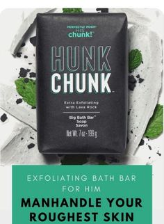 Even men need a little pampering and exfoliation for even the roughest skin.  CLICK TO SEE MORE! #posh #perfectlyposh #chunk #soap #bathbar #exfoliation #charcoal #pumice #men #forhim #roughestskin