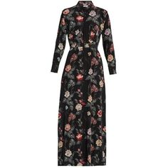 Equipment Major floral-print silk maxi dress ($488) ❤ liked on Polyvore featuring dresses, black multi, floral print dress, floral dresses, maxi shirt dress, maxi dresses and summer dresses