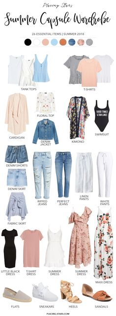 Summer Capsule Wardrobe 2018 pin description summer capsule wardrobe 2018 Minimalist Lifestyle Basic items for summer Summer color palette Capsule Wardrobe 2018, Summer Wardrobe, Capsule Outfits, Time Capsule, Capsule Clothing, Clothing Basics, Pink Wardrobe, Vintage Wardrobe, Travel Outfits