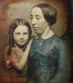 Daguerreotype of mother and daughter