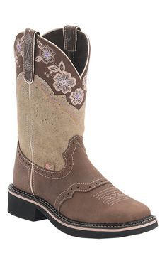 Justin Gypsy Collection Women's Barnwood Brown with Bone Top Perfed Saddle Vamp Square Toe Cowboy Boots