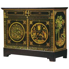 Exquisite Louis Philippe Polychrome Lacquer Two Door Cabinet by Chifflot | From a unique collection of antique and modern cabinets at http://www.1stdibs.com/furniture/storage-case-pieces/cabinets/