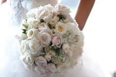 My Bridal bouquet! baby pink and white wedding bouquet. David Austin, Hydrangea, lisianthus and colombian roses #wedding