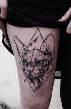 Sphynx Cat tattoo by Kamil Mokot - sketch style tattoos Modern Art Tattoos, Trendy Tattoos, Tattoos For Guys, Cool Tattoos, Sketch Style Tattoos, Sketch Tattoo Design, Tattoo Sketches, Life Tattoos, Body Art Tattoos