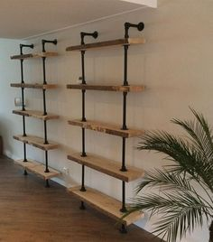 20 Industrial Pipe Closet Designs You Can Make Yourself Industrial Home Design, Industrial House, Industrial Pipe Shelves, Interior Design Living Room, Living Room Decor, Interior Livingroom, Kitchen Interior, Dining Room, Pinterest Home