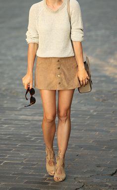 Skirt: Express (less than $50!) | Sweater: Theory | Shoes: Aquazzura | Bag: Celine Nano in 'Dune'