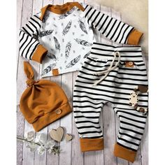 Baby boy gift for baby showers. This high quality newborn boy clothes is printed with stripe pattern. The baby boy clothes comes with 3 pieces, hat, shirt and pant. Newborn Boy Clothes, Baby Outfits Newborn, Baby Boy Newborn, Baby Boy Outfits, Kids Outfits, Baby Baby, Baby Club, Newborn Clothing, Baby Girls