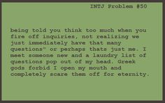 INTJ Problems- probably one of the reasons I scare people off, I hate using typical chatting scripts.