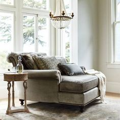 Bringing the elegant details of a European heirloom to today's luxurious aesthetic, our Cybil Chaise and a Half will call to you at the end of a long day or after a warm bath. Ideal for a sophisticated yet romantic retreat, the sumptuously proportioned chaise overflows with comfort.Tri-color pencil cording on the seat cushionTight back accented with five throw pillowsLoose pillows filled with the perfect amount of feather and downFoam core of seat cushion wrapped in down and polyester…