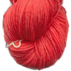 Red 3 Coral Handdyed Corriedale Wool DK Weight Yarn 3-ply For Knitting, Crochet and Felting, Clear Red Hand Dyed Wool Yarn, Made in Denmark