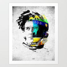 Ayrton Senna do Brasil - White & Color Series #4 Art Print by Universo do Sofa - Artes & Etecetera - $15.00