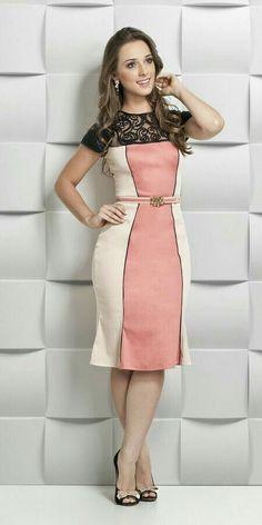 Colour block lace collar dress