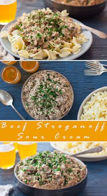 Best Beef Stroganoff Sour Cream - FOODS RECIPE Beef Stroganoff Sour Cream, Best Beef Stroganoff, Stroganoff Recipe, Chowder Recipes, Soup Recipes, Vegetarian Recipes, Cooking Recipes, Healthy Recipes, London Broil Recipes