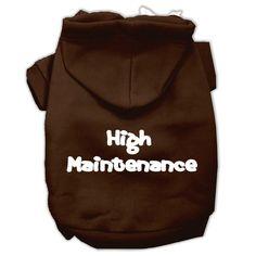 High Maintenance Screen Print Pet Hoodies Brown M (12)