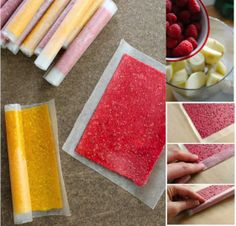 Making an All Fruit Roll-up yourself takes very little prep time, because all you need to do is puree fruit in a food processor or blender, but they take hours in the oven at a low temp to dehydrate into fruit leather . Fruit Snacks, Healthy Snacks, Healthy Recipes, Paleo Fruit, Healthy Candy, Diy Snacks, Eat Fruit, Detox Recipes, Dehydrator Recipes